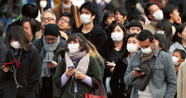 People wearing nose masks in China